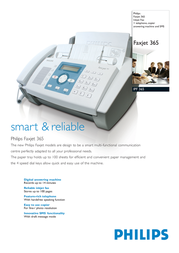 Sagem Philips Faxjet 365 Inkjet Fax IPF365/NLW Leaflet