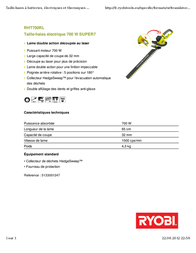 Ryobi RHT700RL 5133001247 Leaflet