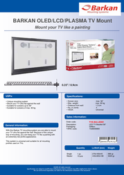 Barkan Mounting Systems TVS-BA-LED01 MODEL W0 Leaflet