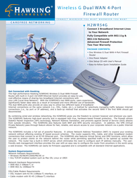 Hawking Technologies Wireless G Dual WAN 4-Port Firewall Router. Model: H2WR54G H2WR54G Leaflet