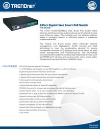 Trendnet TPE-80WS, 8-Port Gigabit Web Smart PoE Switch TPE-80WS Leaflet