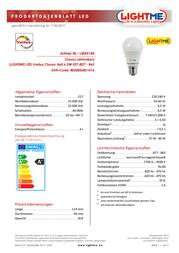 LIGHTME LED (monochrome) 114 mm 230 V E27 6.5 W = 40 W Warm white, Cold white, Daylight white ATT.CALC.EEK: A+ Pear shap LM85141 Data Sheet