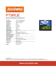 """Accuview 19"""" PT9RUE Leaflet"""