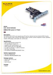 DeLOCK USB2.0 PCI card, 4+1 Port 89028 Leaflet