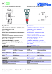 Signal Construct LED indicator light Blue 24 Vdc, 24 Vac 20 mA SMLD 08414 SMLD 08414 데이터 시트