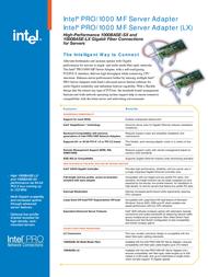 Intel PRO/1000 MF PWLA8490LX Leaflet