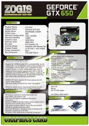 Zogis GeForce GTX 650 1GB ZOGTX650-1GD5H Leaflet