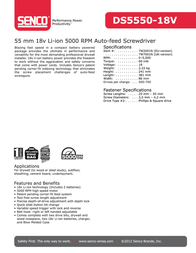 Senco DS5550-18V Leaflet