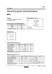 Rohm Semiconductor IMT4T108 Bipolar Transistor Emitter reverse voltage U(CEO) -120 V IMT4T108 Data Sheet