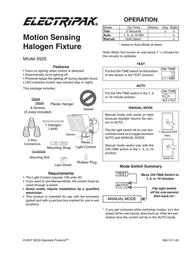 Desa Motion Sensing Halogen Fixture 5525 User Manual