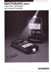 Gossen Sixtomat Digital H039A Leaflet