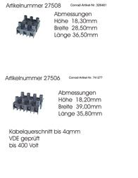 Wera Connector clip ATT.CALC.CROSS_SECTION_FLEXIBLE: -4 mm² ATT.CALC.CROSS_SECTION_RIGID: -4 mm² Number of pins: 4 27506 1 p 70306 Data Sheet