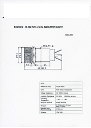Sedeco Signal lights Red B-432, 12V, ROT Data Sheet