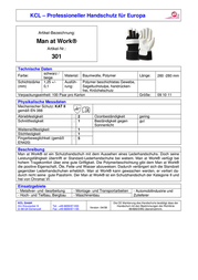 Kcl 301 Man At Work Leather Gloves 301 Man At Work Data Sheet
