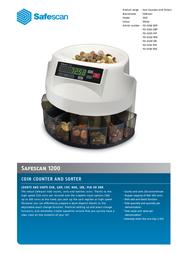 Safescan 1200 Euro coin counter 113-0260 Data Sheet