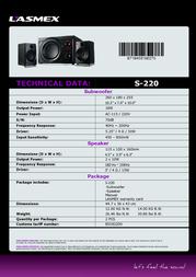 Lasmex S-220 Data Sheet