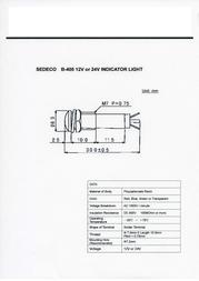 Sedeco Standard Signal lighting Clear B-405, 24V, TRANSPARE Data Sheet