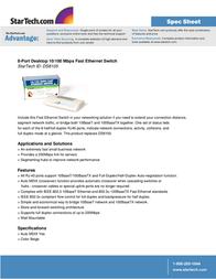 StarTech.com 8-Port Desktop 10/100 Mbps Fast Ethernet Switch DS8105GB Leaflet