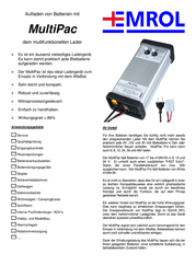 Emrol MultiPac - 30A Lead Acid Battery Charger Station, For 6, 12, 24V Batteries MULTIPAC Data Sheet