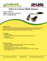 Cables Unlimited USB 2.0 to Serial DB9 Adapter USB-2920 Leaflet