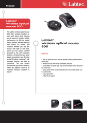 Labtec wireless optical mouse 800 931735-0914 Leaflet