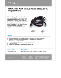 Belkin CAT5e Snagless Molded 2m A3L791B02M-BLKS Leaflet