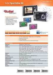 Rollei Since 1920 Digital camera 8 MPix Green Full HD Video, Shockproof, Underwater camera, Dustproof 5010052 Data Sheet