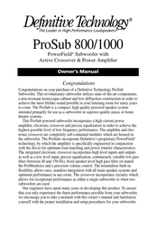 Definitive Technology PROSUB 800/1000 User Manual