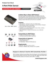 Keyspan 4-port Print Server PS-4A Leaflet
