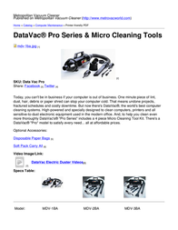 Metropolitan Vacuum Cleaner Company MDV-2BA User Manual