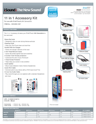 iSound 11 in 1 Accessory Kit for 4th Generation iPod Touch ISOUND-1597 Leaflet
