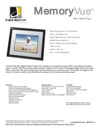 "Digital Spectrum MV-1500 Plus15"" Digital Photoframe Black U-40127 Leaflet"