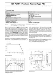 Isabellenhuette Isabellenhütte Precision resistor PBV 0.5% PBV 0.02 (L x W x H) 22 x 4 x 17 mm PBV 0.02 Data Sheet