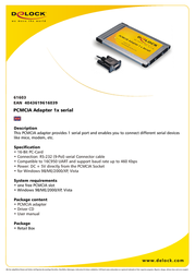 DeLOCK PCMCIA adapter, PC Card to 1 x serial 61603 Leaflet