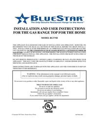 BlueStar RGTNB User Manual