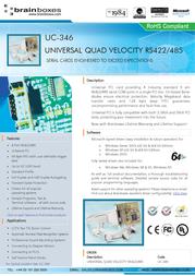 Brainboxes Universal Quad Velocity RS422/485 PCI Card UC-346 User Manual