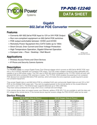Tycon Systems TP-POE-1224G Data Sheet