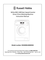 Russell Hobbs White 8KG 1400 Spin Speed Inverter Direct Drive Washing Machine RHWM81400DIDW User Manual