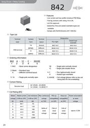 Song Chuan 842A-1CS 6V DC PCB Mount Relay SPDT-CO 842A-1CS 6V DC Data Sheet