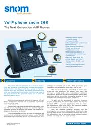 Snom SNOM360 Phone SNOM360 Leaflet