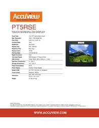 """Accuview 15"""" PT5RSE Leaflet"""