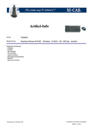 M-Cab Keyboard Mouse M-CAB 7000933 Leaflet