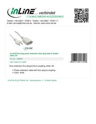 InLine Euro plug power extension 16683W Leaflet
