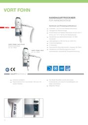 Vortice Wall-mounted hair dryer Vort Fohn 1200 Plus 70924 1200 W + shaver socket White 70924 Data Sheet