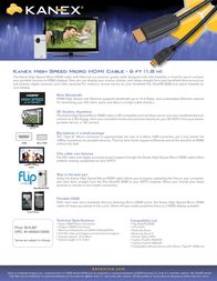 Kanex High Speed Micro HDMI Cable HDMI-1024 Leaflet
