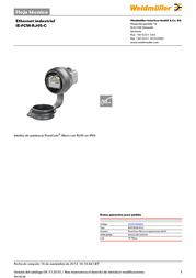 Weidmueller Weidmüller 1018790000 IE-FCM-RJ45-C RJ45 Socket, build-in Black 1018790000 Data Sheet