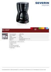 Severin KA 4037 KA4037 Leaflet