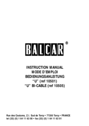 "Balance Balcar ""U"" BI-CABLE 10505 User Manual"