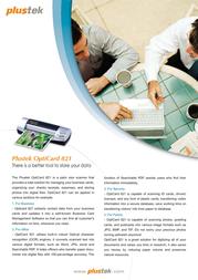 Plustek OptiCard 821 OC821 Leaflet