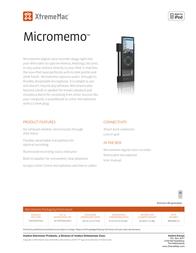 XtremeMac MicroMemo IPN-MM4-12 Leaflet